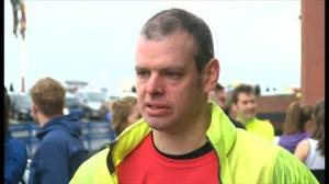 Me just about to start my first marathon (Blackpool, April 2014)