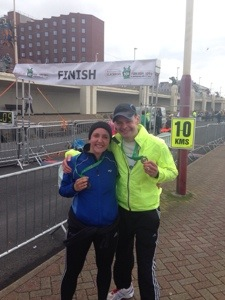 Louise and I at the Blackpool 10k finish line