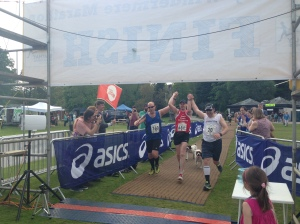The three amigos cross the line. Couldn't have done it without Tim and Daron. Truly great guys!