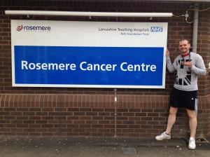Outside the Rosemere Unit with my medal following chemo the day after the Brathay Windermere Marathon