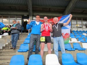 Peter McGahan and Stephane Delourme running the Celtic 7 Marathon Challenge