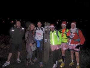 Me with some of the guys and girl that ran and cycled with me during the day. I ran 47 miles (including twice round the Preston Guild Wheel) in 9hrs30. It was 20th December, so a great way to start Christmas week! Left to right: Chris (cyclist), Fay, Meeee, Pete (cyclist), Mark and Brian