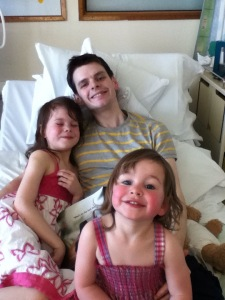 Picture with my daughters Skye and Isobel just after my bowel surgery