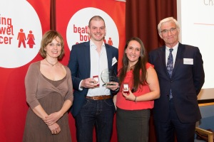 Beating Bowel Cancer have been a great support to us all. We were bowled over to be given an Achievement Award to celebrate the fundraising work we've done over the last year.